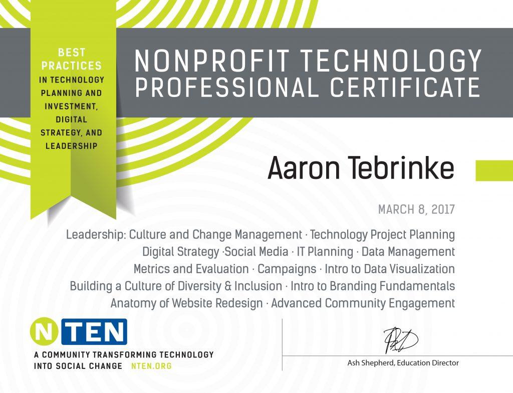 Aaron Tebrinke Earns Nonprofit Technology Professional Certificate